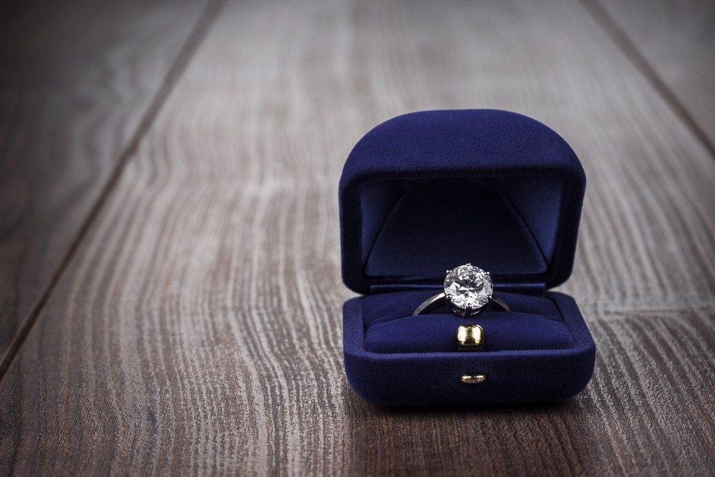 ring in a velvet box
