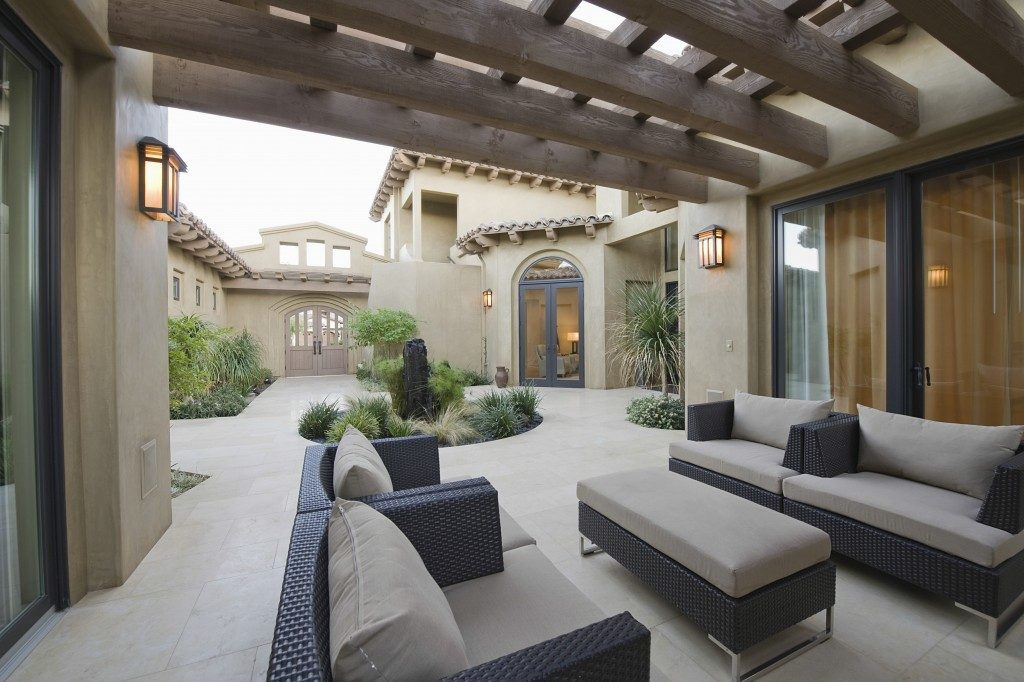 patio with outdoor seating in a modern home
