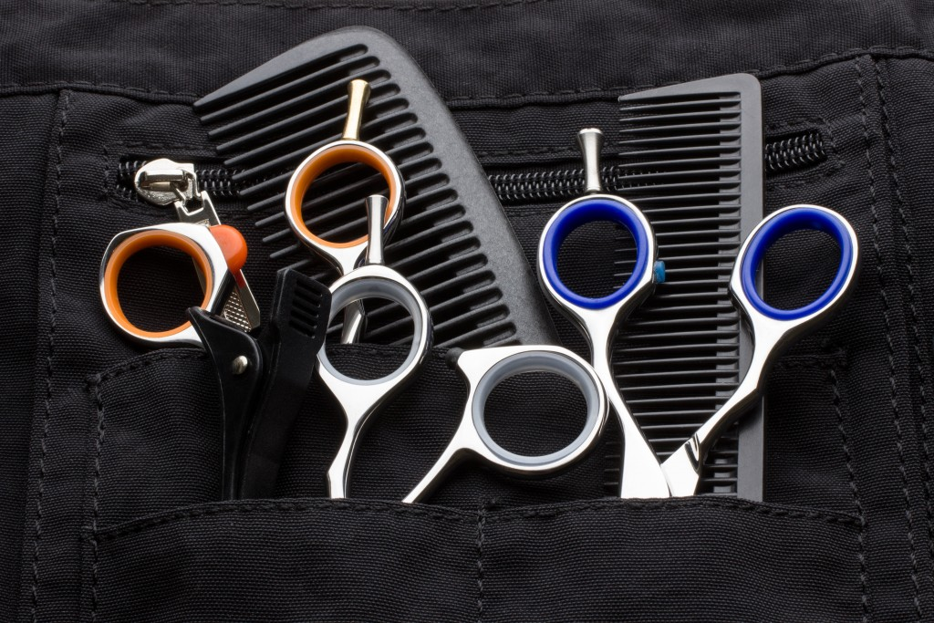 hairstylist's scissors and combs