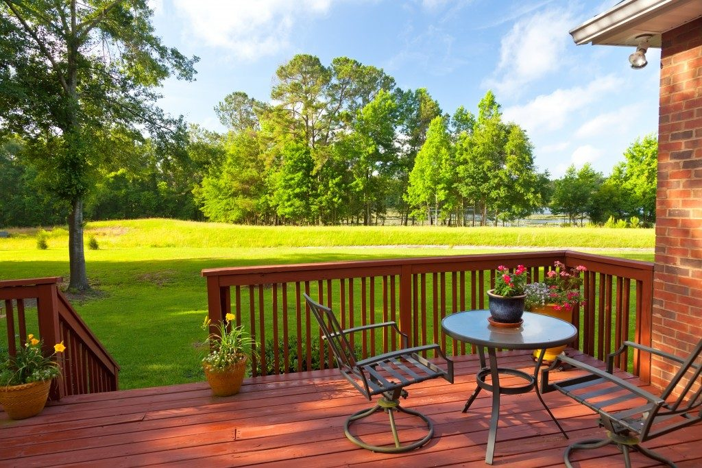 patio with beautiful backyard view