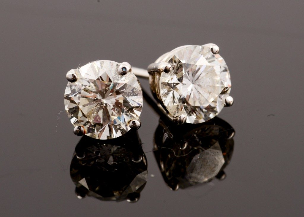 Diamond Stud Earrings with Reflection