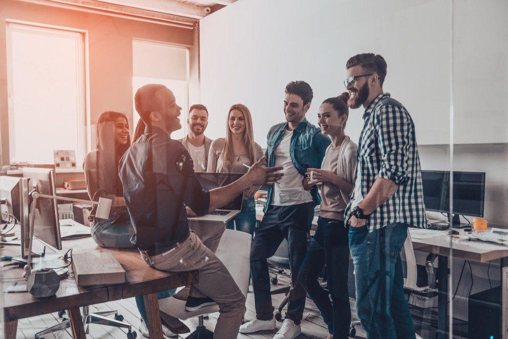 business employees talking