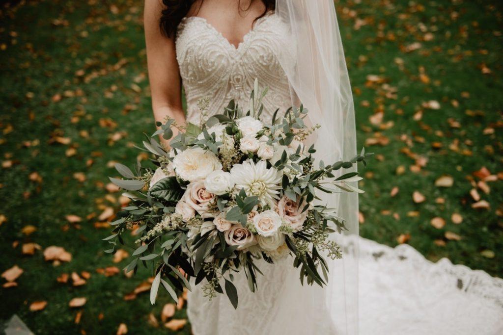 woman holding a bouquet